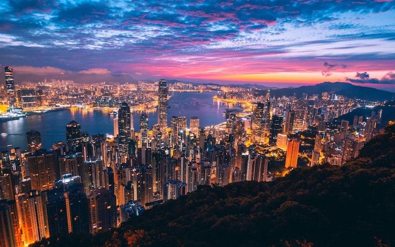 Aerial shot of Hong Kong city skyline