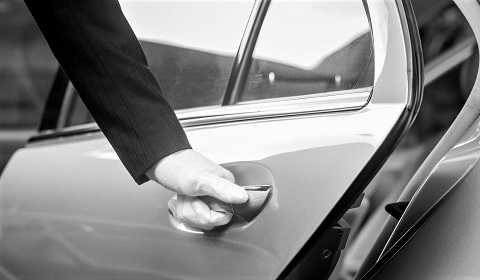 Asia Car Service Gloved Chauffeur Open Door Mobile Image